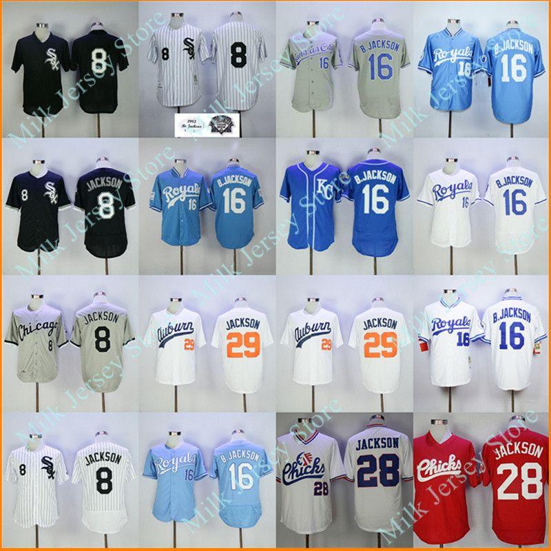 461ca297c ... 2017 Bo Jackson Jersey 16 Kansas City Royals 8 Chicago White Sox 29  Auburn Tigers 28 ...