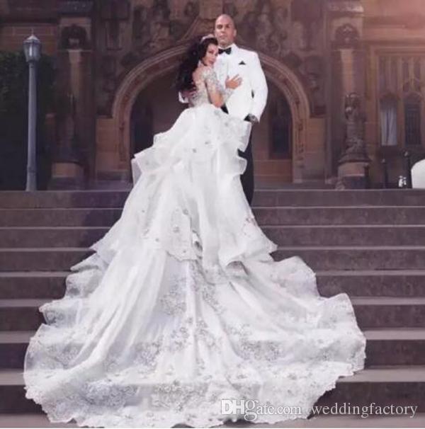 Sparkly Luxo Destacável Vestido de Noiva Sereia Árabe Alto Pescoço Ilusão Mangas Compridas Frisado Cristais Lace Applique Vestido de Noiva