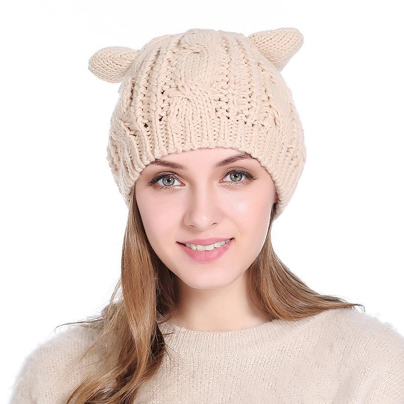 Cute Cat Ear Winter Beanies for Women Casual Warm Soft Wool Blends Skull Knitted Caps Gorro Ladies Sweet Berets Ski Hat GH-138