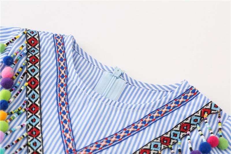 Everweekend Girls Stripes Autumn Long Sleeve Dress Vintage Ruffles Tassels Cute Dress Sweet Baby Fashion Dresses