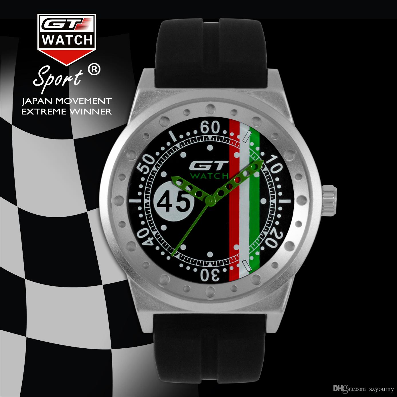 GT WATCH Extreme Driver GT Racing Sports Men Militray Pilot Relojes Silicone Strap Quartz Wristwatch Fashion Trend Watch