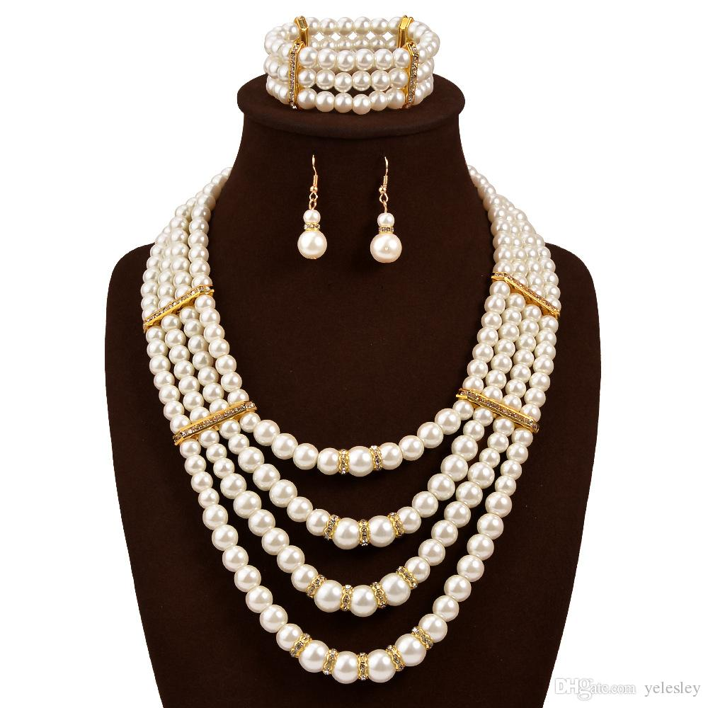 pearl jewelry set new fashion simulated plastic pearl beads statement women Necklace Earrings Ring For Women Ladies Wedding