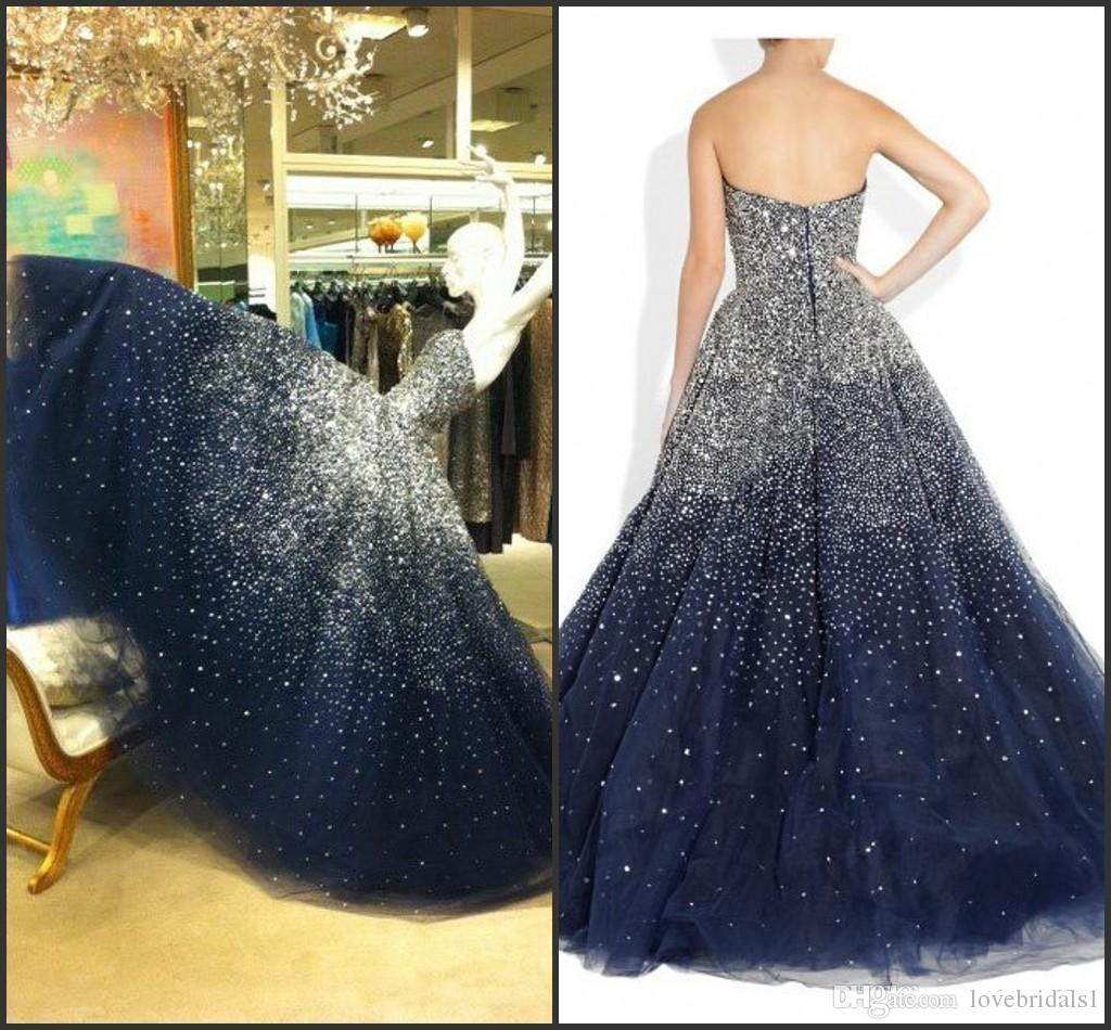 2017 Strapless Sparkling Sweet 16 Navy Blue Puffy Quinceanera ...