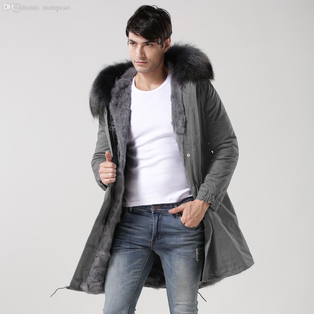 3a10b7362a22 2019 Fall Black  Navy  Grey Long Length Rabbit Fur Lined Trench Coat ...