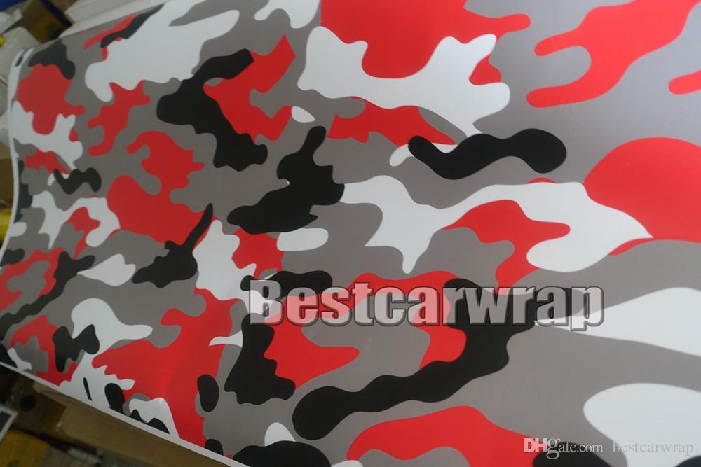Red black white Camo VINYL Full Car Wrapping Camouflage Foil Stickers with Camo truck covering foil gloss / matte finish 1.52 x 30m/5x98ft