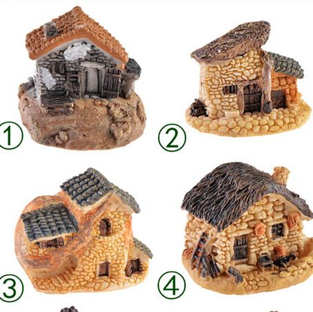 Wholesale- 8 Styles Stone House Fairy Garden Miniature Craft Micro Cottage  Landscape Decoration For DIY Resin Crafts