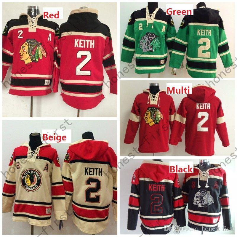 Дешевые мужские Чикаго Блэкхокс Дешевые Хоккей с капюшоном Джерси # 2 Duncan Keith Хоккей с капюшоном / Толстовка с капюшоном