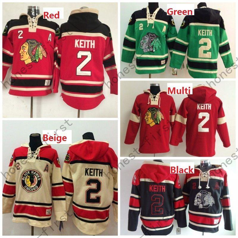 Cheap Men's Chicago Blackhawks Cheap Ice Hockey Jersey Hoodie #2 Duncan Keith Ice Hockey Hoodies/ Hooded Sweatshirt