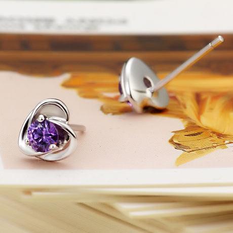 925 pendiente de plata, corazón blanco y púrpura del diamante, cristal natural, joyería de la plata esterlina, calidad de Hign, envío libre