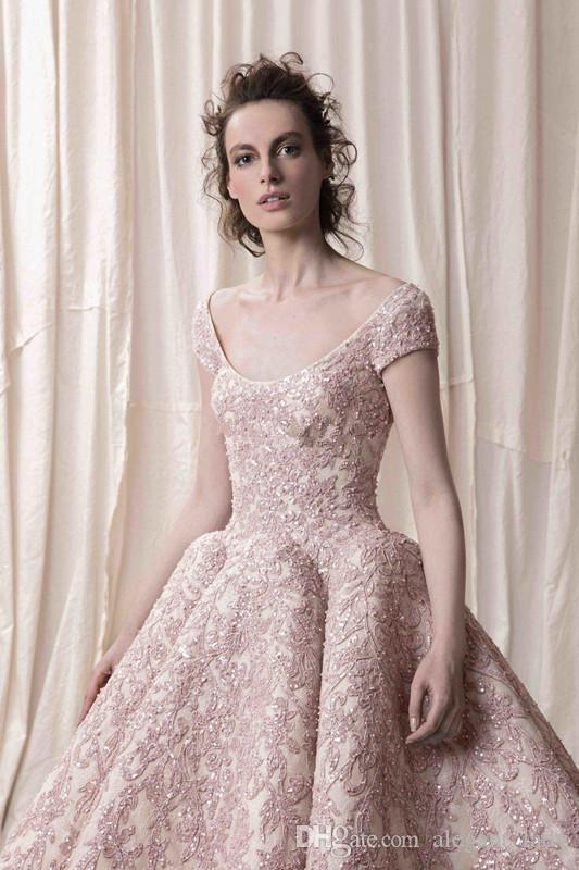 Arabische Dubai Kurze Ärmel Ballkleid Stark Stickerei Brautkleider 2018 Krikor Jabotian Braut Halsausschnitt Brautkleider