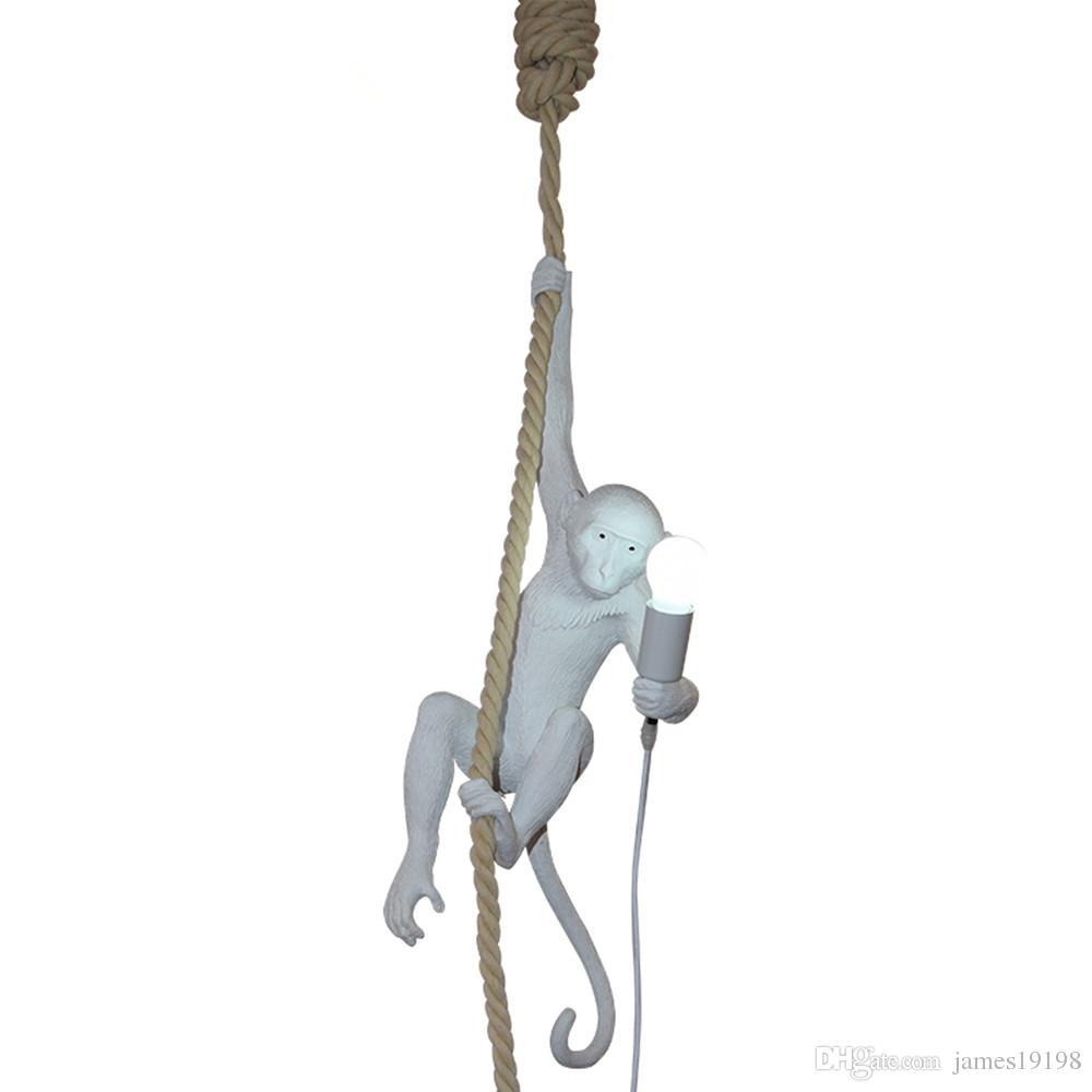 Moderna scimmia a soffitto bianco scimmia bianca su una corda a soffitto lampada a sospensione sala da pranzo Hotel Home Decor
