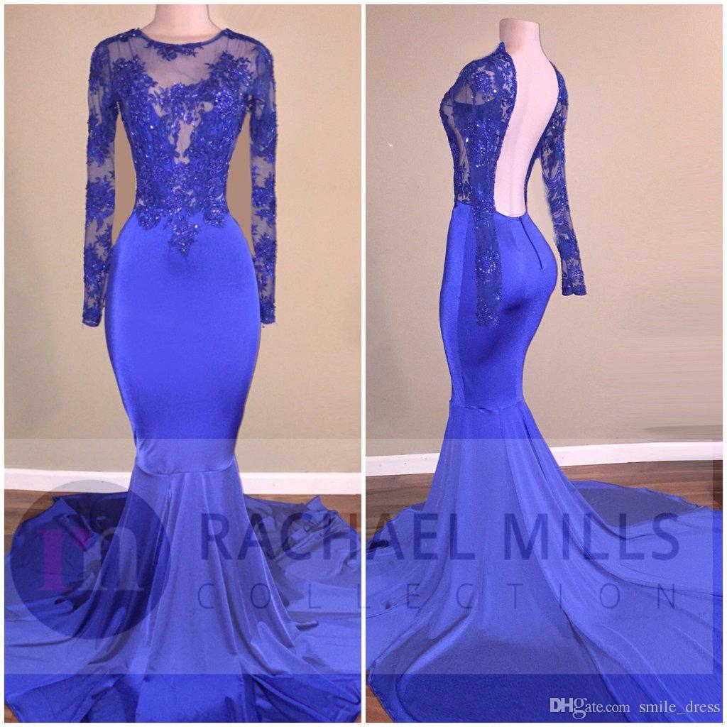 Royal Blue Long Sleeves Party Prom Dresses Mermaid Backless Lace ...