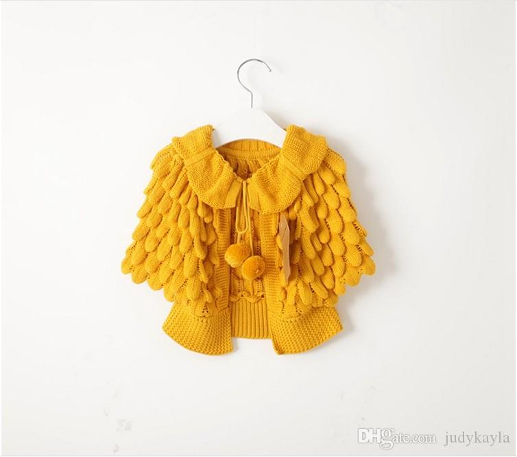 Free DHL 2016 Autumn Winter Girls Knitted Cardigan Sweaters Children Pineapple Capes Shawls Kids Ruffles Jackets Outwear Girl Poncho Coats