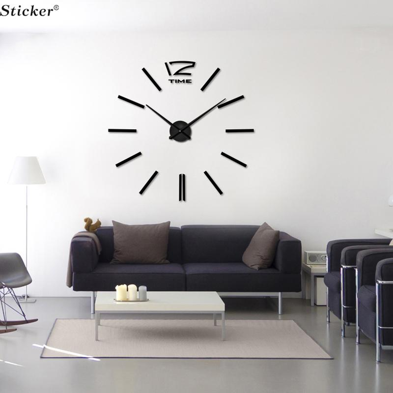 Whole 3d Mirror Wall Clock Stickers Acrylic Big Sticker Home Decoration Surface Decor Decorative Large Digital