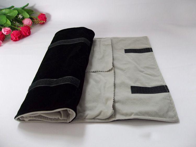 Wholesale All Black Velvet Big Size Ring Roll Bag Ring Display Volume Portable Travel Organizer Jewelry folding bag Ring Holder Organizer
