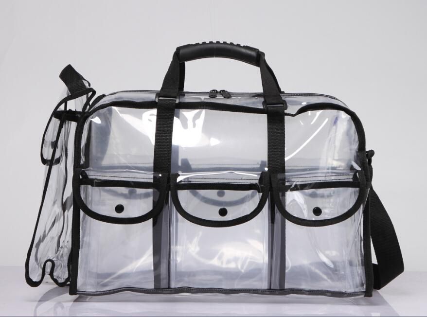 Professional Transparent Beauty Cosmetic Bag With Handle