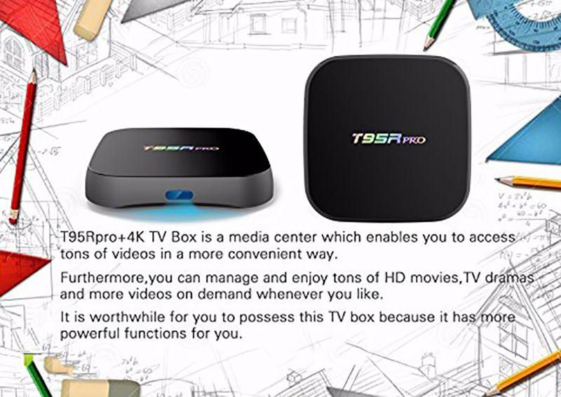 Echte Android 7.1 S912 TV Box T95R pro 2 gb 16 gb Gigabit Ethernet 5G AC WiFi BT4.0 3D Octa Core 4 Karat TV Boxen