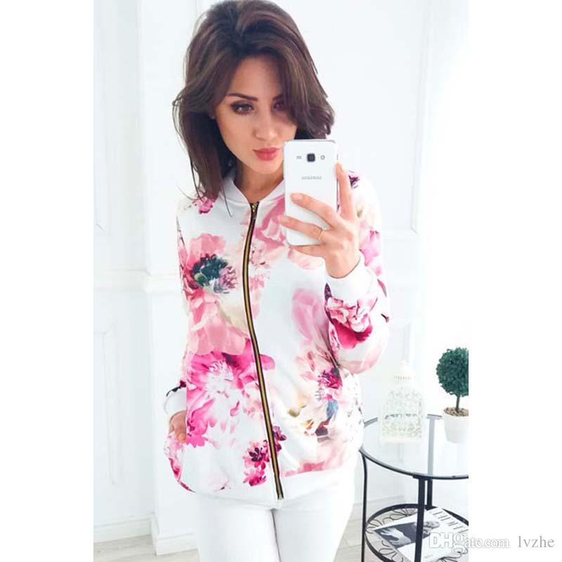 Nueva moda para mujer de manga larga flor impresa cremallera delgada chaqueta de béisbol abrigo Tops es 4 tamaño