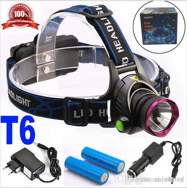 6000 Lumens CREE XM-L XML T6 LED Headlamp Headlight Flashlight Head Lamp  Light 2*18650 battery charger Car Charger