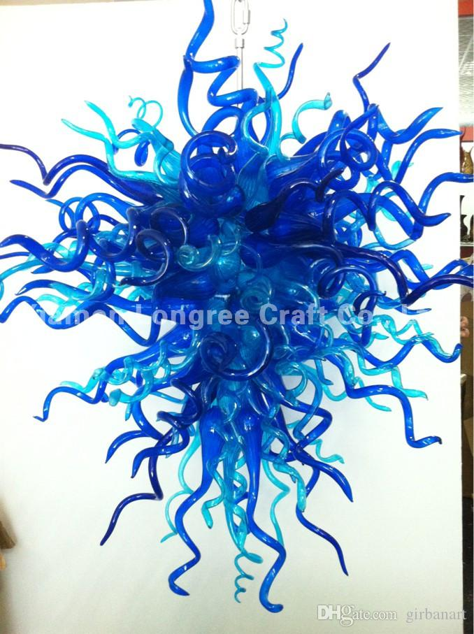 Handmade Blown Glass Modern Chandelier Light Blue Color Custom Made LED Bulbs CE UL Certificate Cheap Chandelier Pendant Lamps