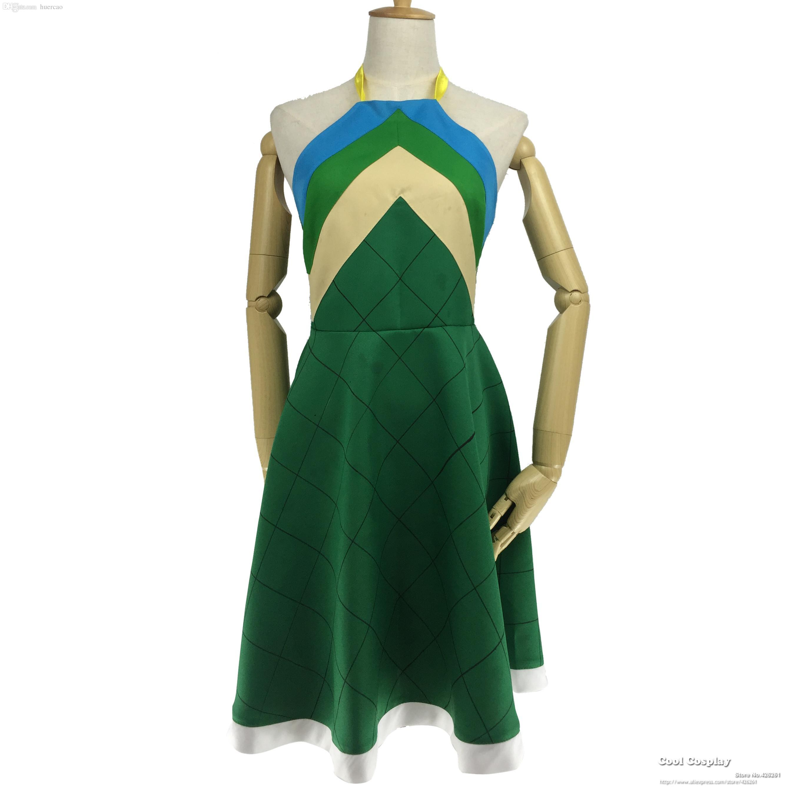 Green Gros Marvell Deep Robe Costume Made Cosplay Wendy Personnalisée Fairy Tail wO8X0Pnk