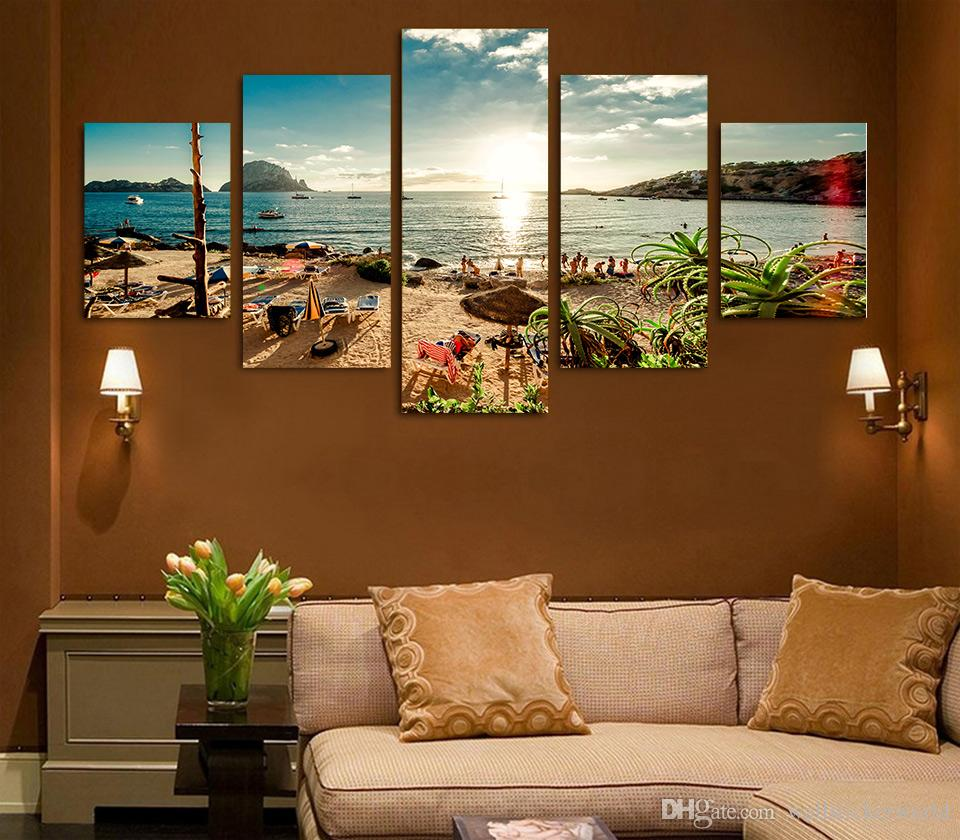 Framed Printed Spain Ibiza Sea beach Painting Canvas Print room decor print poster picture canvas /ny-4382