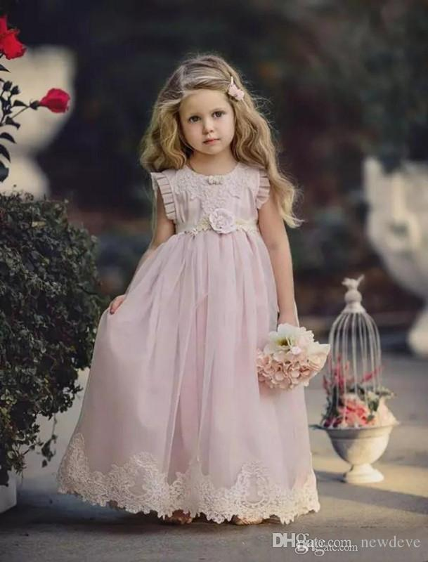 Lovely Blush Pink Flower Girl Dress For Weddings Lace Pageant Gowns With Sash Soft Tulle Dresses For Girls