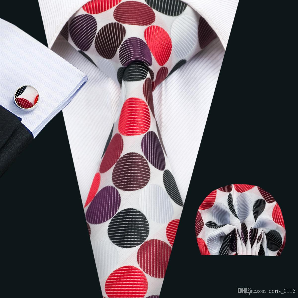 611e3cb366d3 2019 Classic Silk Men Ties Dot Tie Sets Colorful Mens Neckties Tie Hanky  Cufflinks Set Jacquard Woven Meeting Business Wedding Party Gift N 1426  From ...