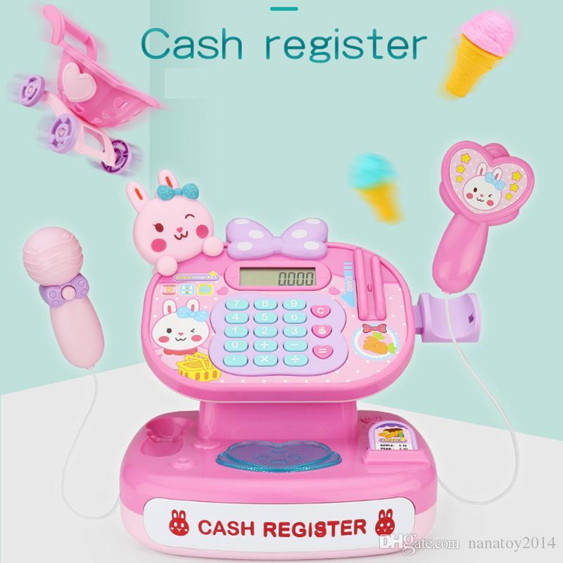 Calculadora caixa registradora com simulação de som e ação realista fingir jogar brinquedos pré-escolares brinquedos meninas toy kids presente