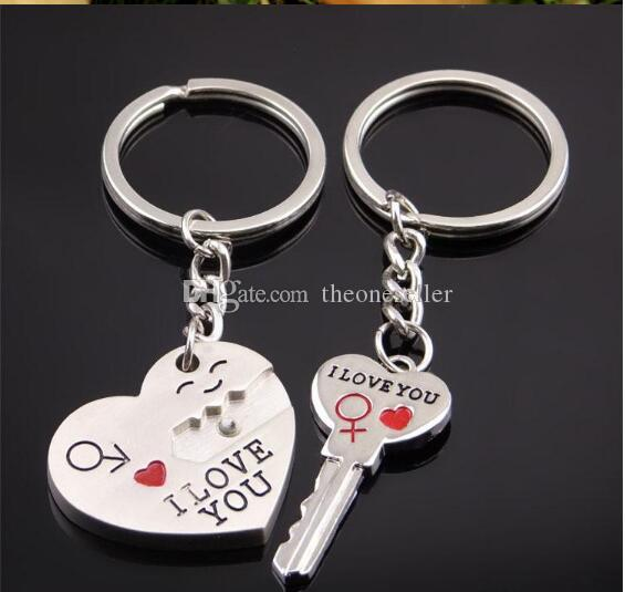 새로운 커플 내가 사랑해 심장 키 체인 링 키 링 키 체인 애인 낭만적 인 창조적 인 생일 선물