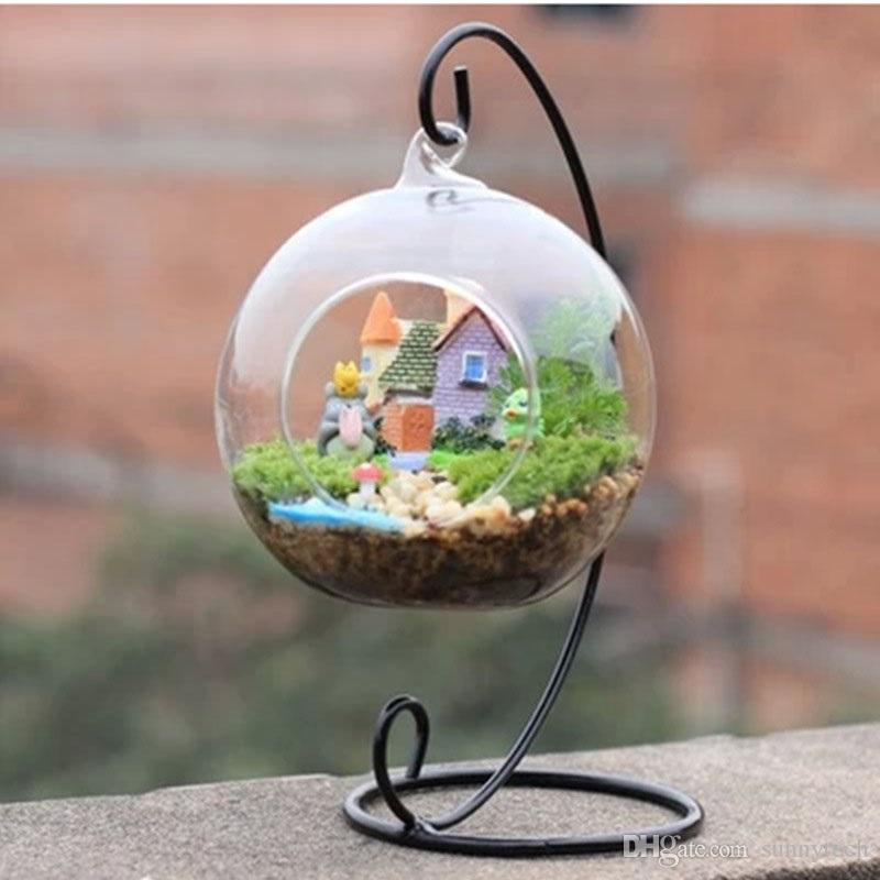 Black White Micro Landscape Ecology Bottle Holder Iron Hooks Vase Glass Ball Hanging Bracket Stand 32cm 23cm ZA4288