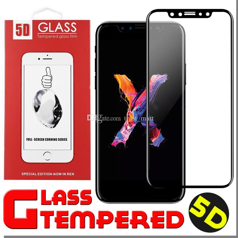 5D Curved Tempered Glass Full Covrage Screen Protector Hardness Anti-Scratch Film Guard For iPhone X 8 Plus 7 6 6S With Retail Box 100pcs