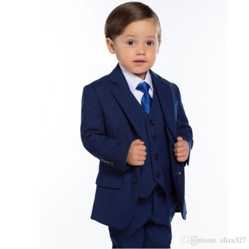 Flower Boys Children Wedding Groom Tuxedos Formal Kid's Party Prom New Suits jacket + pants + vest custom made