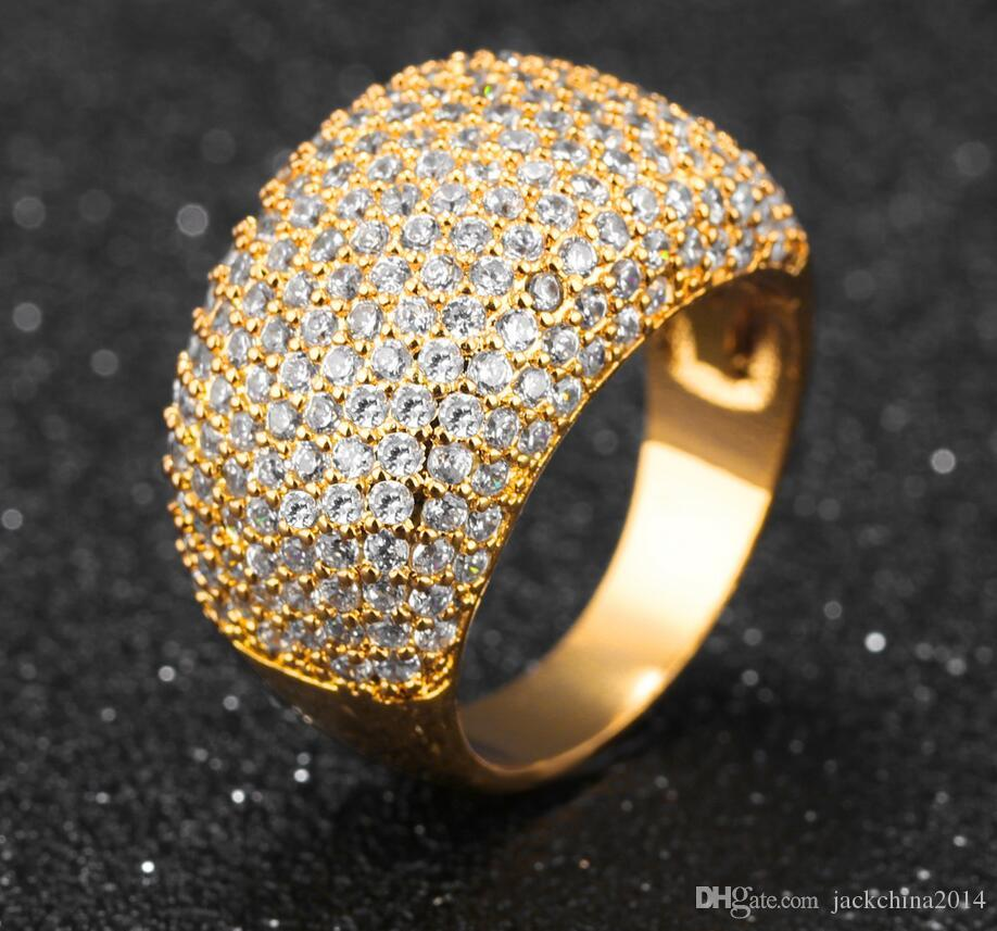 choucong Fashion Jewelry Full Tiny White Sapphire 10KT Yellow Gold Filled CZ Diamond Gemstones Women Wedding Band Ring For Lovers' Gift Box