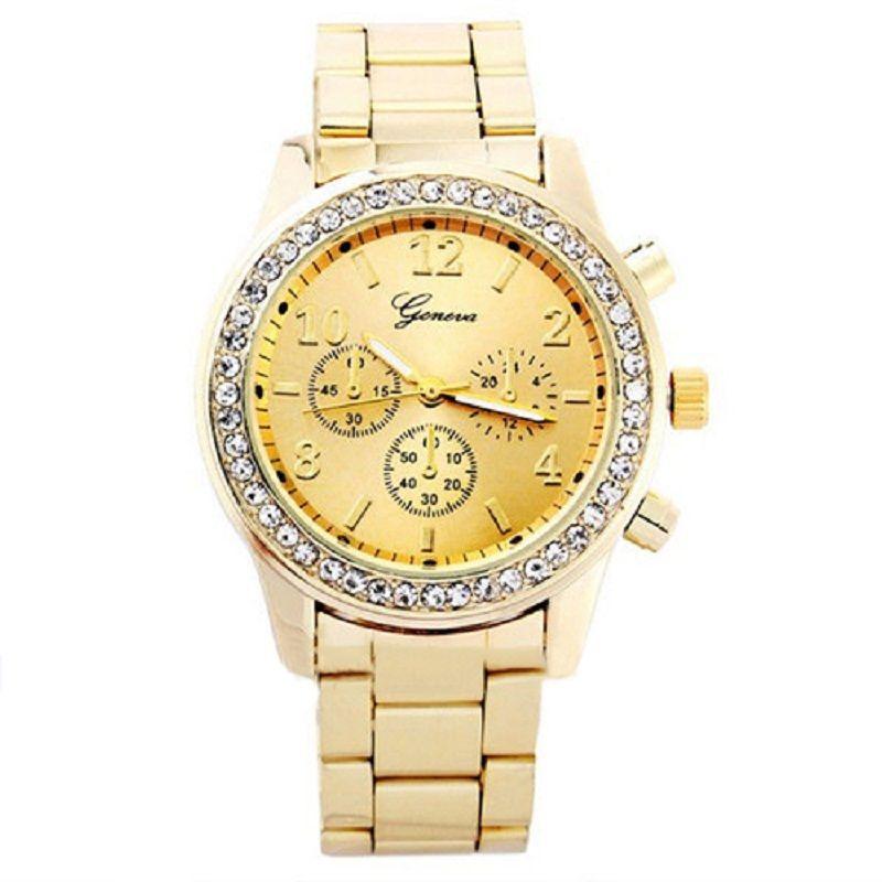 2c69359bf6d2 Compre CZ Stones Geneva Watch Relojes Baratos De Acero Inoxidable Al Por  Mayor Relojes De Pulsera De Oro Fashion Gold Quartz De Oro Rosa A  2.76 Del  ...
