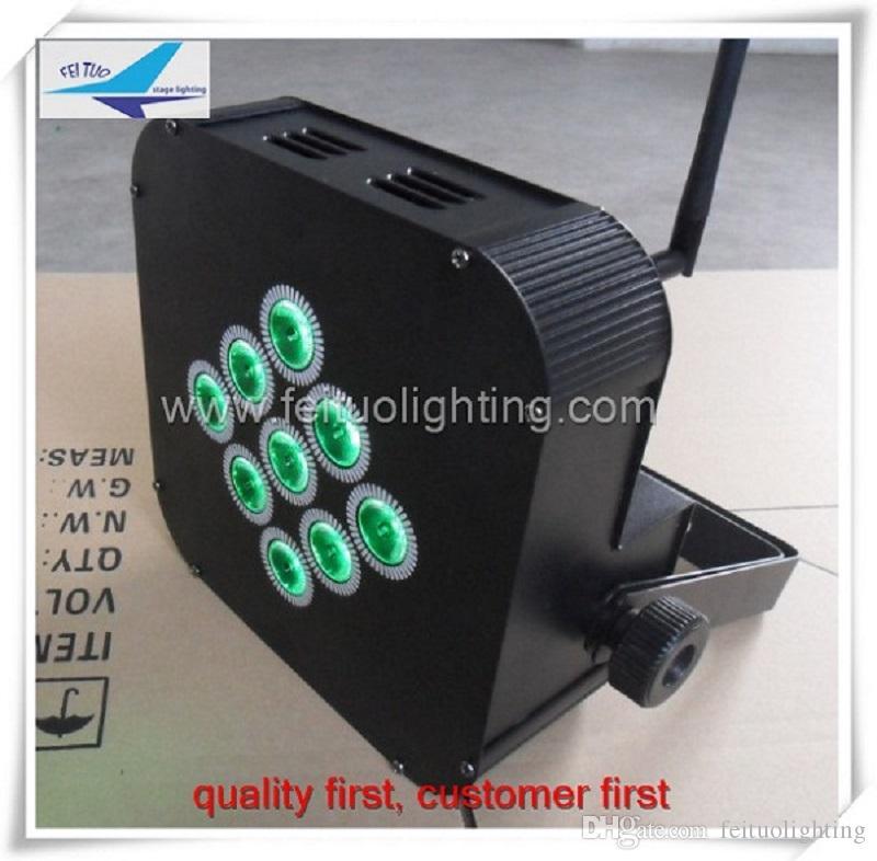 24 unids / lote etapa de envío gratis iluminación inalámbrica alimentado por batería led par plano 9x15w rgbwa 5in1 plana par par puede