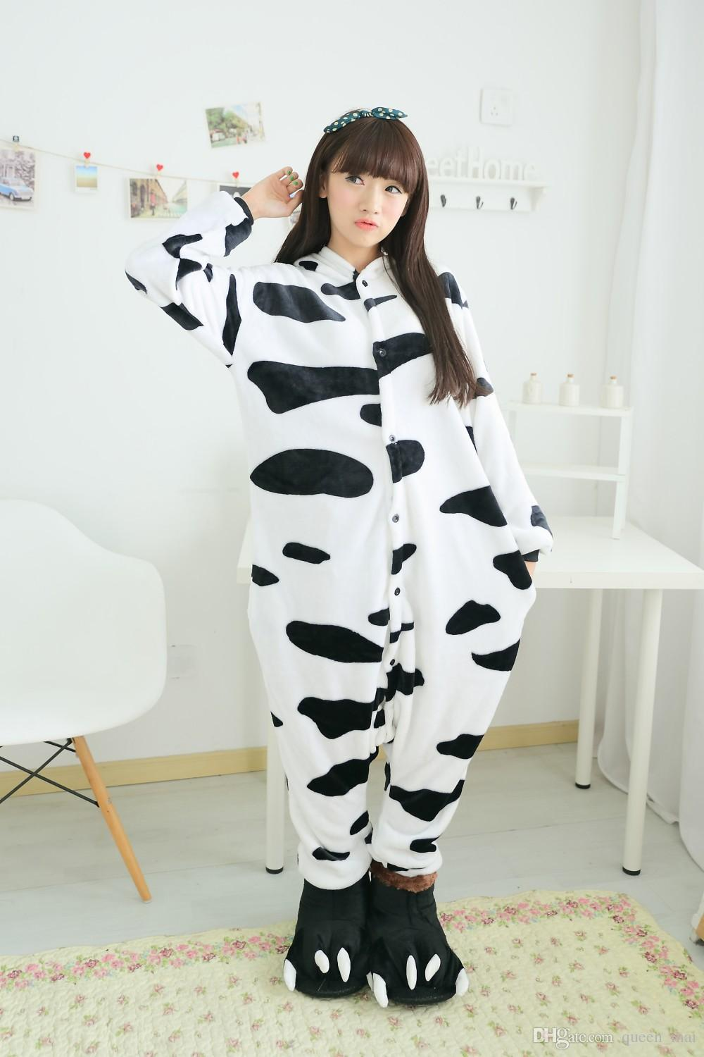 Furry Fleece Lovely Adult Unisex Animali Bella latte mucca da latte Pigiama Tutina Tutina Cosplay latte Sleepwear Cartoon mucca tutina tuta
