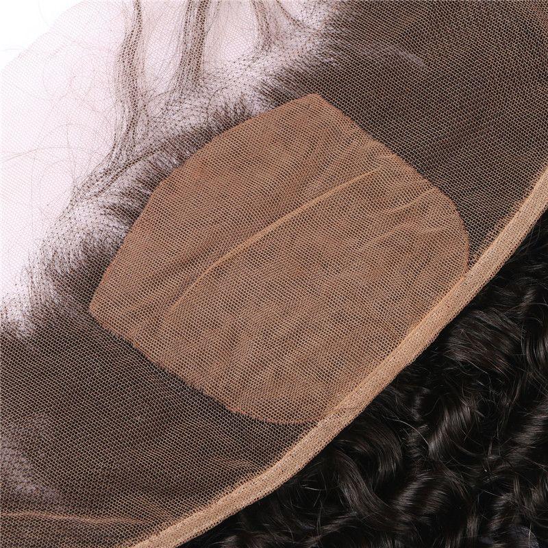 Capelli ricci tessiture con frontali in seta 13x4 4 pezzi lotto Deep Wave mongolo libero Parting frontale in seta frontale e fasci FDSHINE HAIR