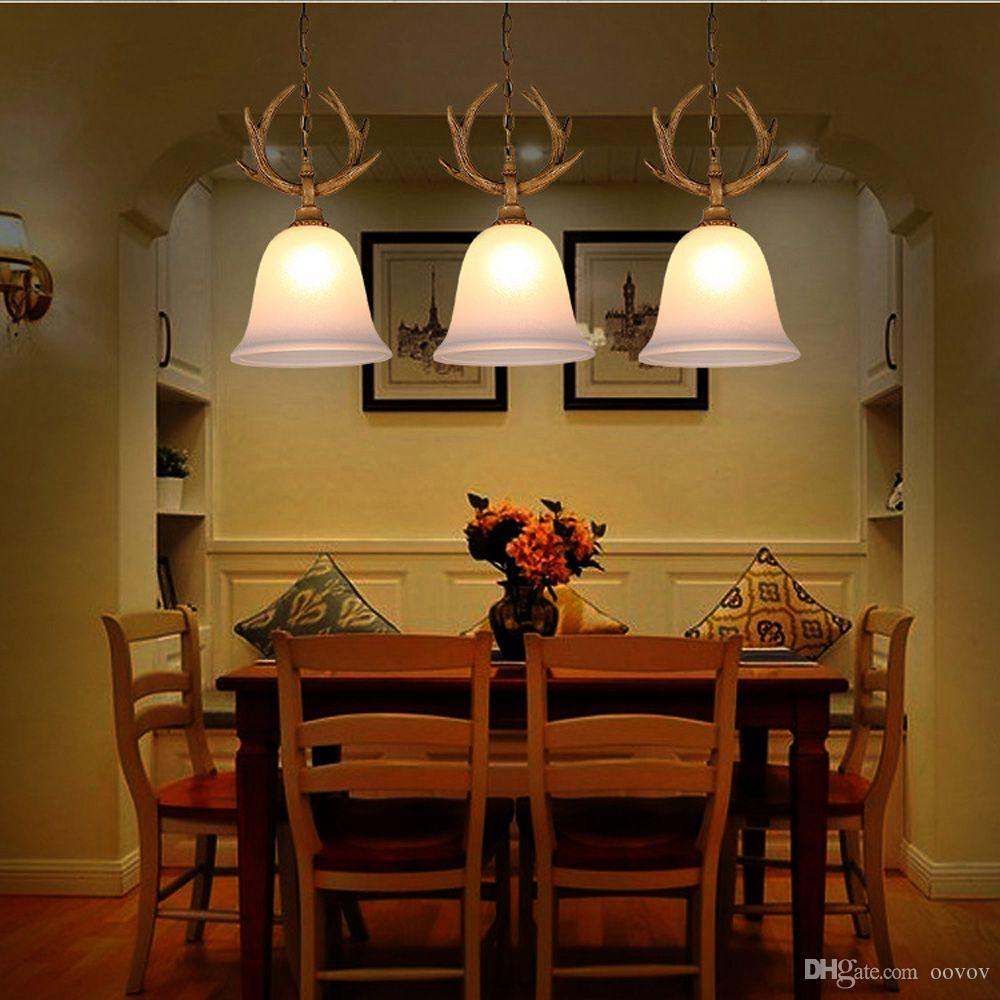 OOVOV Retro Antlers Dining Room Pendant Lamp Classic Bar Cafe Balcony Hallway Entrance Stairs Pendant Light