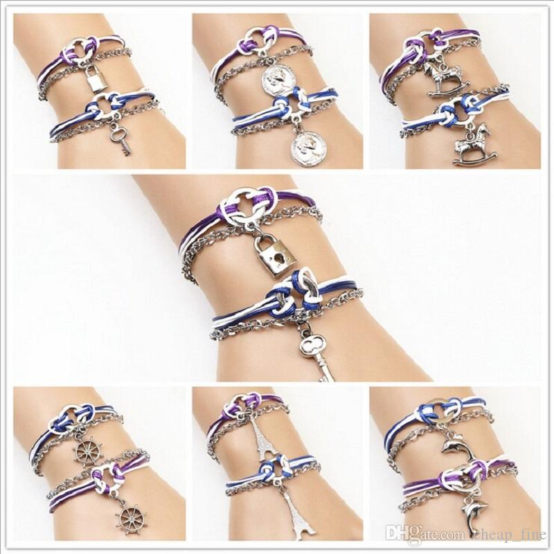 New Fashion 1 Pair Heart-shaped Key Charm Bracelet Couple Lover Alloy Bracelets for Valentine's Day Jewelry Cheap Wholesale