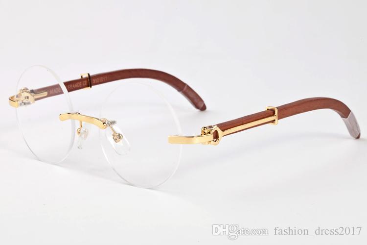 Diseñador de la marca de lujo gafas de sol para hombres mujeres gafas de madera originales redondas lentes transparentes y rojo negro gafas marrón piernas con caja