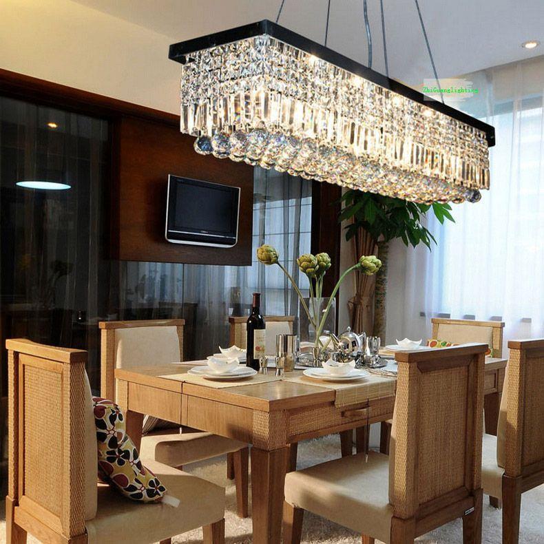 Modern Rectangle Rain Drop Crystal Chandelier For Dining Room Suspension  Lamp Lighting Fixture Modern Crystal Pendant Lamp Living Room Bedroom Dining  Online ...