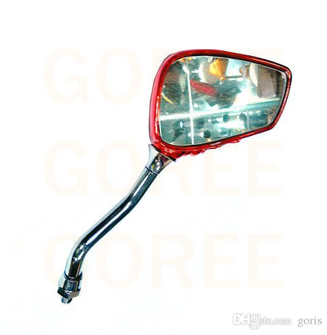 أحمر مرآة دراجة نارية مرآة الرؤية الخلفية مرايا الرؤية الخلفية كروم دراجة نارية الجمجمة مرآة 8MM