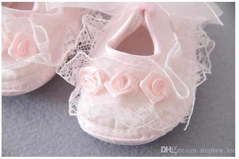 Baby Princess Shoes 2016 New Infant Girl First Walkers Shoes Lace Net Yarn Bowknot Soft Bottom Flower Shoes Toddler Fashion Cotton Shoes