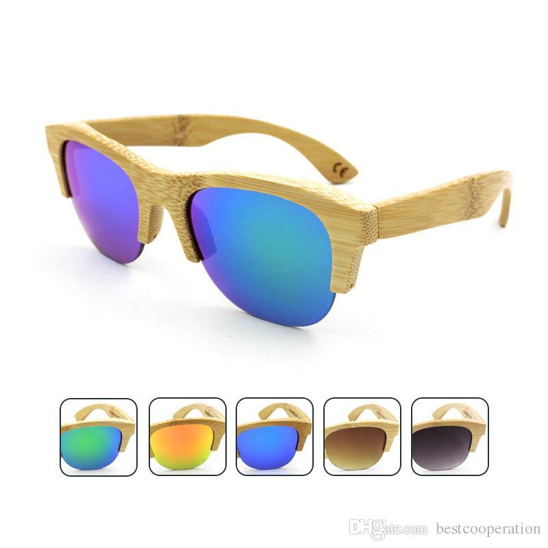 45ab4e09c2 Compre Gafas De Sol De Madera De La Playa De La Alta Calidad Mujeres Hombres  Marco De Bambú Hecho A Mano De La Vendimia Medio UV400 Diseñador De La  Marca ...