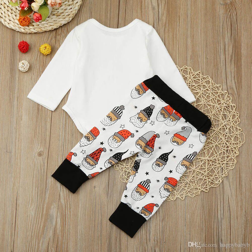 Noel Bebek Rompe Kıyafetler Giyim Setleri Erkek Kız Santa Yenidoğan Onesies Pantolon 2 Adet Set Pamuk Yürüyor Romper Butik Giysileri