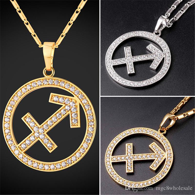 Wholesale U7 Twelve Constellations Charms SAGITTARIUS Pendant Necklace Women  Men Jewelry Rhinestone Gold Platinum Zodiac Plated Necklace P2511 Diamond  ... 5cb355dbf5b4
