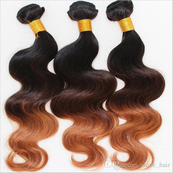 9a البرازيلي أومبير الإنسان شعر الجسم موجة 3 قطع الكثير 1b / 4/30 ثلاثة لهجة الملونة البرازيلي أومبير شعرة الإنسان نسج حزم الجسم متموجة