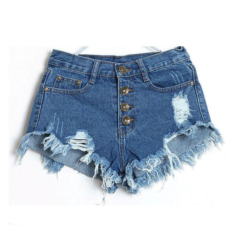 e84af4957a Compre Al Por Mayor Pantalones Cortos De Mezclilla Jeans Women New 2017  Moda De Verano Ladies Tassel Hole De Cintura Alta Mini Shorts Atractivos  Para Mujer ...