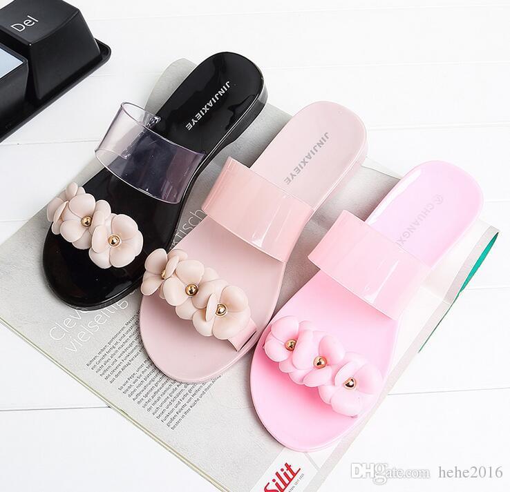Burst models home women 's sandals summer flowers slippers shoes wear camellia flowers beach flat sandals slippers